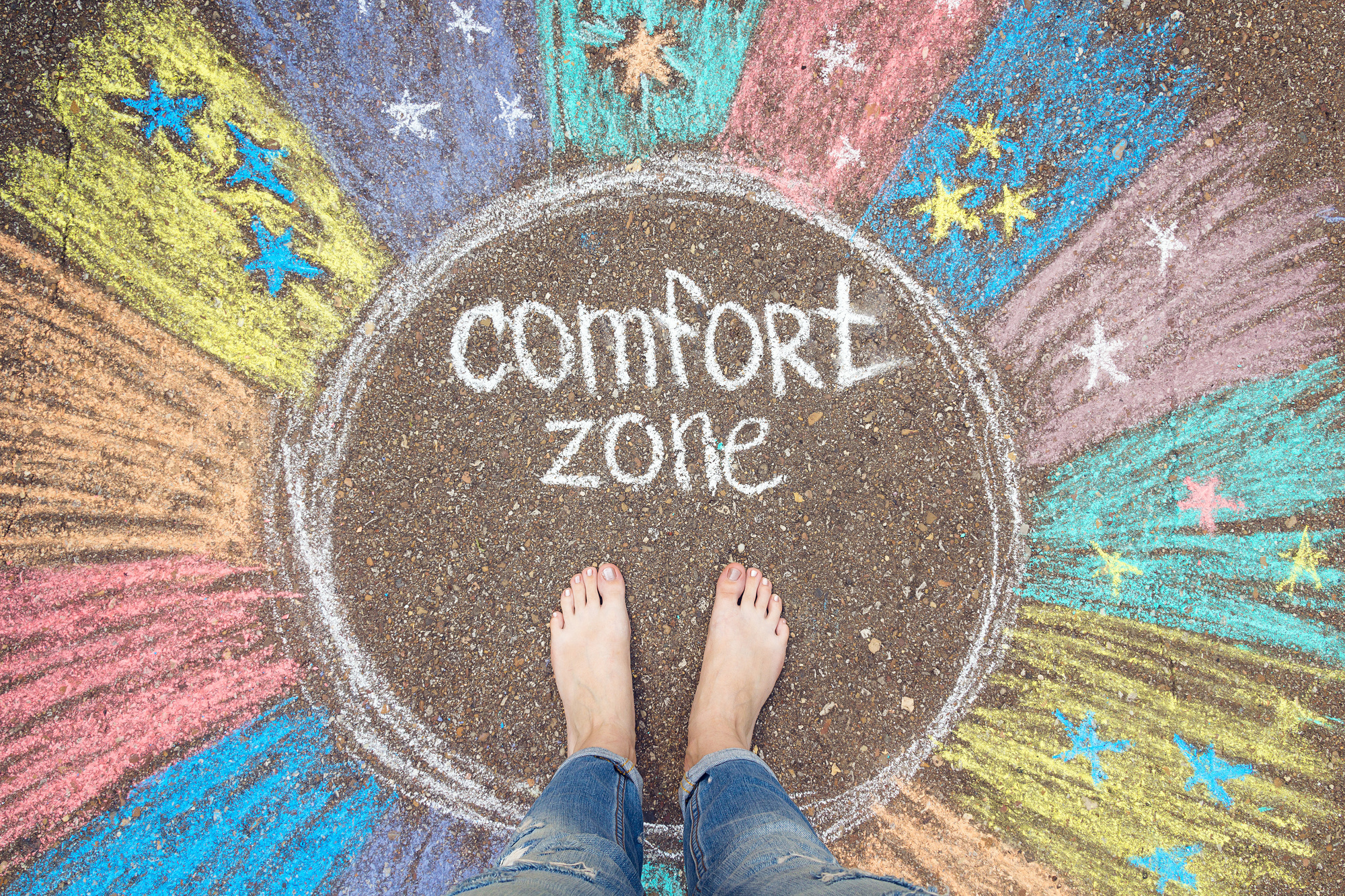 comfort zone written in chalk