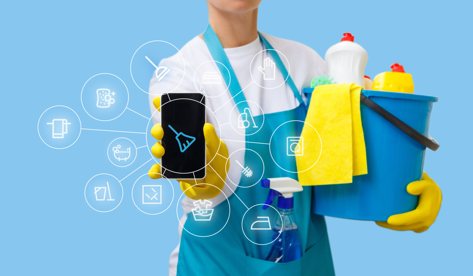 person holding phone with house cleaning products